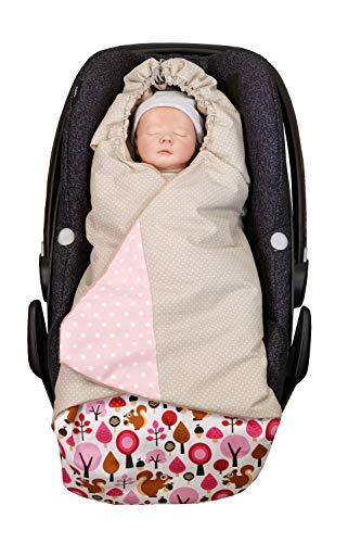 ULLENBOOM ® Einschlagdecke Babyschale Sand Eichhörnchen (Made in EU) - Babydecke für Autositz (z.B. Maxi Cosi ®), Babywanne oder Kinderwagen, ideale Decke für Babys (0 bis 9 Monate)