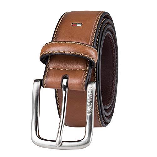 Tommy Hilfiger Men's Casual Jeans Belt, Brown Logo, 42