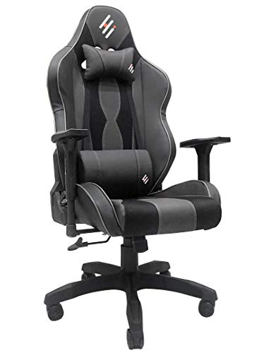 Gaming Chair Racing Office Computer Game Chair Ergonomic Backrest and Seat Height Adjustment Recliner Swivel Rocker with Headrest and Lumbar Pillow E-Sports Chair (Black)