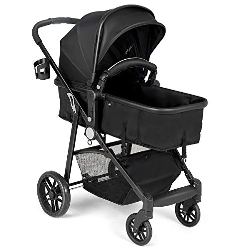 BABY JOY Convertible Baby Stroller, 2 in 1 Carriage Bassinet to Stroller, Pushchair with Foot Cover, Cup Holder, Large Storage Space, Wheels Suspension, 5-Point Harness (Black)