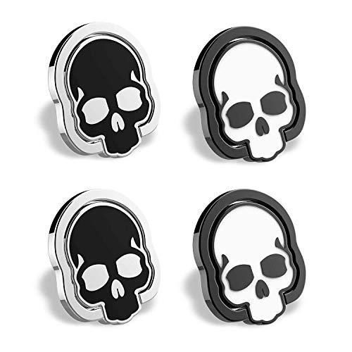 homEdge Soporte de anillo de calavera para teléfono celular, juego de 4 paquetes de 4 anillos ajustables de 360°, apto para soporte magnético de coche para teléfono celular, blanco y negro