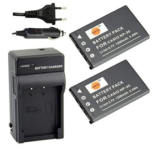 DSTE 2-pacco Ricambio Batteria + DC75E Caricabatteria per Casio NP-20 Exilim EX-Z3 EX-Z4 EX-Z5 EX-Z6 EX-Z7 EX-Z8 EX-Z11 EX-Z60 EX-Z65 EX-Z70 EX-Z75 EX-Z77 EX-M1 EX-M2 EX-M20 EX-S1 EX-S2 EX-S3
