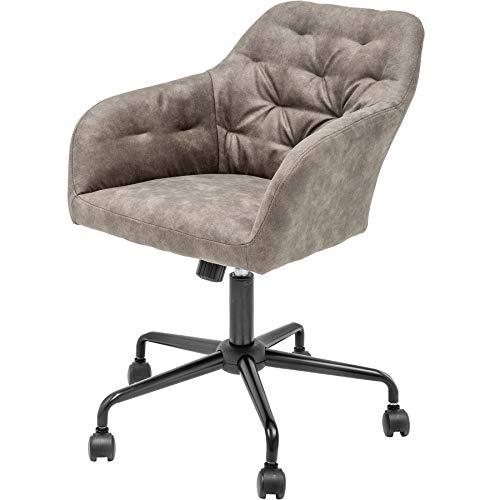 Invicta Interior Höhenverstellbarer Bürostuhl Dutch Comfort Taupe mit Steppung Stuhl Bürosessel mit Leichtlaufrollen