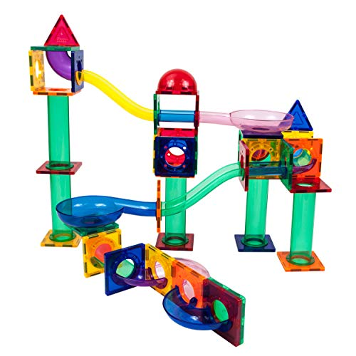 PicassoTiles 70 Piece Marble Run Race Track Magnetic Tiles Magnet Building Block Educational Construction Toy Set Playset STEM Learning Kit Child Brain Development HandEye Coordination Training PTG70