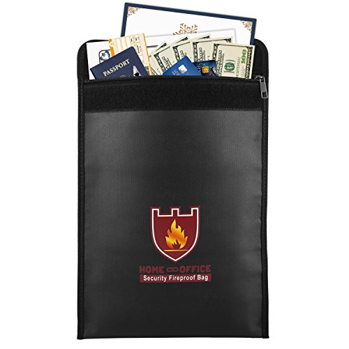 Fireproof Money & Document Bag, MoKo 15' x 11' Fire & Water Resistant Cash & Envelope Holder, Protect Your Valuables, Documents, Money, Jewelry, Zipper Closure for Maximum Protection, Black