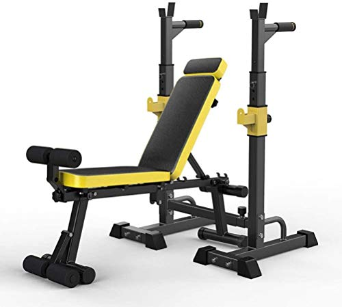 Cnley Banco de pesas plegable para el hogar con soporte para sentadillas, juego de banco de peso, estante plegable ajustable para la prensa de banco, bancos de peso para el hogar