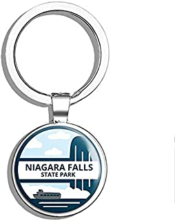 PRS Vinyl Round Blue Artsy Niagara Falls State Park - ny Falls us York rv Double Sided Stainless Steel Keychain Key Ring Chain Holder Car/Key Finder