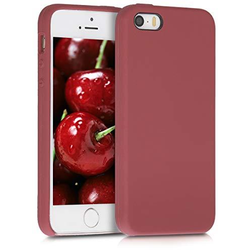 kwmobile Cover Compatibile con Apple iPhone SE (1.Gen 2016) / 5 / 5S - Cover Custodia in Silicone TPU - Back Case Protezione Cellulare Rosso Indiano