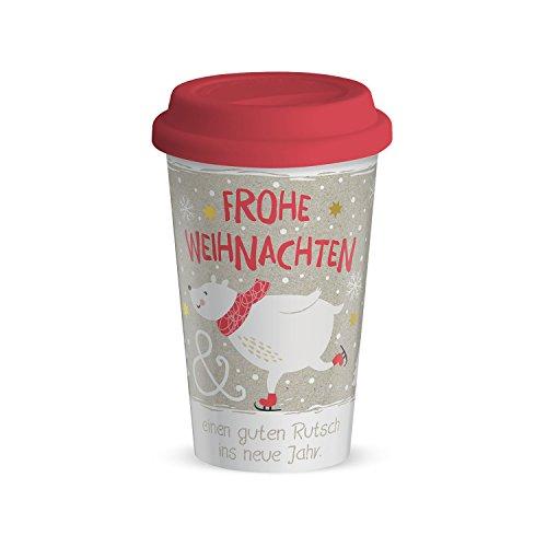 Happy Life 49610 Becher to go Frohe Weihnachten, Porzellan, 15 x 9,5 x 15 cm, bunt