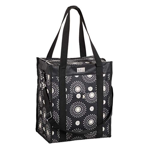 Pursetti Utility Tote Bag (North-South Style) - Perfect as Commuter Bag with Exterior & Interior Pockets for Working Women, Teachers, Nurses and More (Cool Mandala)