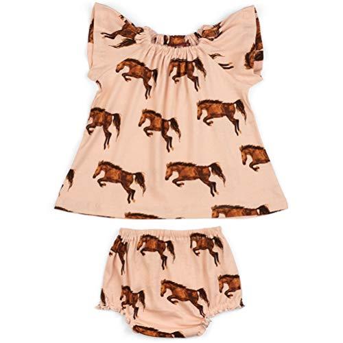 MilkBarn Short Sleeve Cotton Peasant Dress with Bloomer (Horses) (3-6 Months)