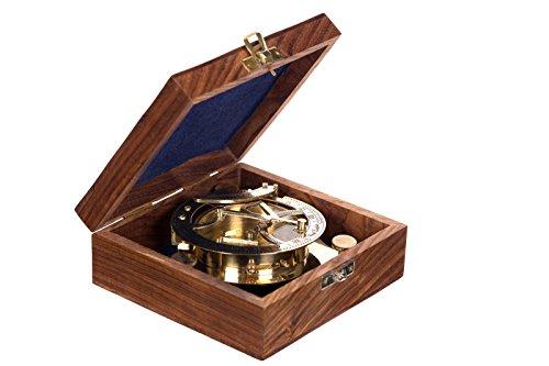 Dekorativer voll Funktionsfähiger großer nautischer Kompass 13109 aus Messing mit Sonnenuhr in edler Geschenk Holzbox Nautik Optik, Boot, Schiff, Maritim, Nostalgie