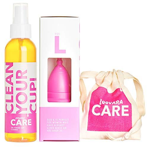 Coupelle menstruelle Loovara sans silicone (100% caoutchouc naturel) avec nettoyant (150 ml) et sac, taille L, emballage économique