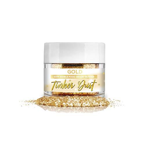 BAKELL® Edible Glitter, 5 Gram   Gold TINKER DUST Edible Glitter   KOSHER Certified   100% Edible Glitter   Cakes, Cupcakes, Cake Pops, Drinks, Dessert Vegan Glitter & Dusts (Gold, 5g)