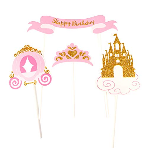 Amosfun 24pcs Happy Birthday Cake Topper Cenerentola Tema Principessa Cake Toppers Picks per Bambini Ragazze Birthday Party Cake Decoration Supplies