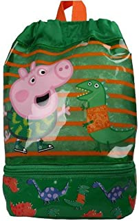 Peppa Pig George Go Adventure 3D Dino Drawstring Trainer Tote PE School Bag