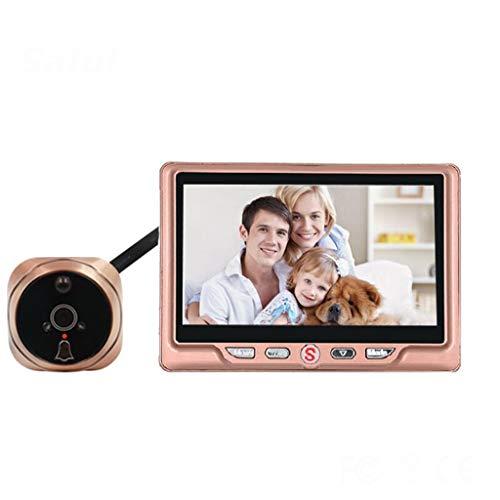 YCZDG Visor de cámara con Mirilla LCD de 4,3 ', Timbre de Puerta con detección de Movimiento de 120 Grados, Mirilla de vídeo con visión Nocturna (Color : Metallic)