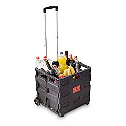 Foldable trolley with light-motion wheels Max. load capacity: 35 kg With extendible aluminium telescopic handle Closing cap and stabilizing bars Ideal for shopping, as a transport or storage box
