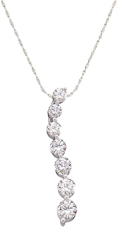14kt White gold Womens Round Diamond Journey Pendant 1 2 Cttw