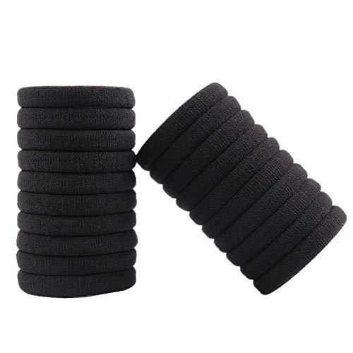 Kingsie ポニーテール ヘアゴム 黒 外径5.5cm 太め 結び目なし リングゴム 洗える 輪ゴム 大人 20個セット