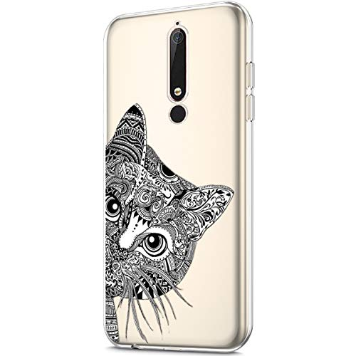 Nokia 6.1 Case,Nokia 6 2018 Case,Clear Art Panited Pattern Design Soft & Flexible TPU Ultra-Thin Transparent Flexible Soft Rubber Gel TPU Protective Case Cover for Nokia 6.1 Silicone Case,Black cat