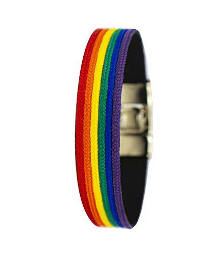 Pulsera lgtb de tela y cuero con los Colores del Arco Iris. Representa el amor entre cualquier persona. Tiene una longitud de 20 cm.