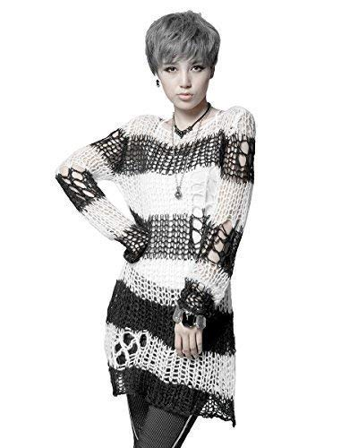 Punk Rave Shredded Knit Sweater Top Black White Stripe Goth Distressed...