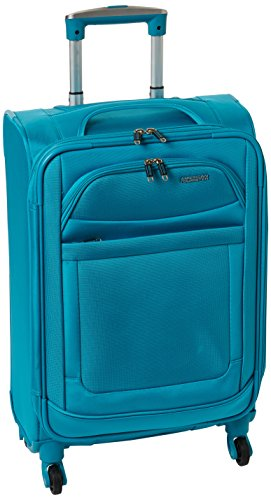 American Tourister iLite Max Softside Luggage with Spinner Wheels, Light Blue, Carry-On 21-Inch