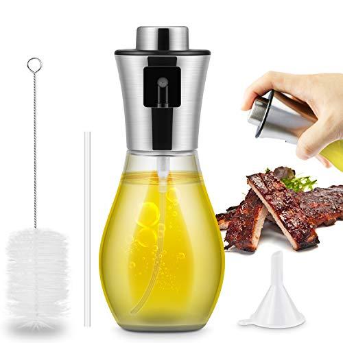 Pulverizador Pulverizador Spray Oliva Aceite, 200 ml Pulverizador Aceite Botella de Vidrio de Aceite\Vinagre para cocinar, Barbacoa, Hornear pan, Ensalada ( Cepillo Incluido)