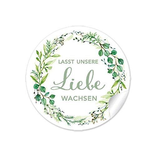72 Sticker Lasst unsere Liebe wachsen GRÜN mit Zweigen, Für Gastgeschenke zur Hochzeit für kleine Samentüten, blumige und niedliche Blumentöpfe,Reagenzgläser, Papieraufkleber 4 cm, rund, matt