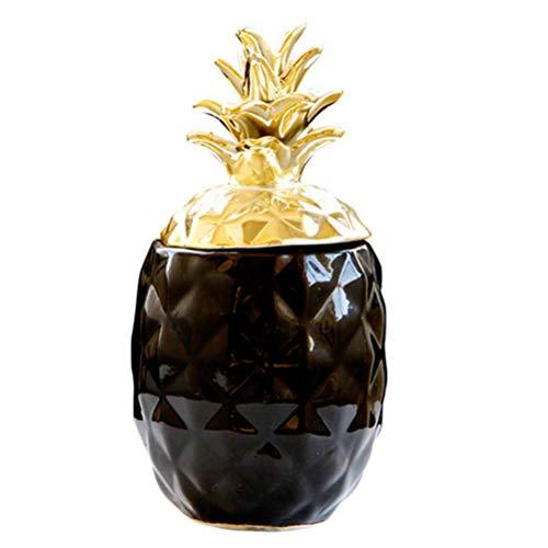 WINOMO Cerámica Piña Ornamento Fruta Forma de Escritorio Caja de Almacenamiento de Joyas Hucha Moderna para Casa Dormitorio Oficina Dinero Monedas Dulces Organizador Regalos ()