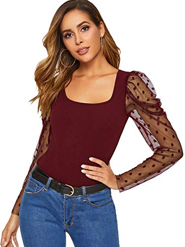 SheIn Women's Puff Long Sleeve Contrast Mesh Polka Dots Square Neck Blouse Top Burgundy X-Large