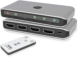 HDMI Switch, Divisor HDMI 2.0 de aluminio de con control remoto IR, conmutador HDMI Selector de salida 3 en 1 compatible c...