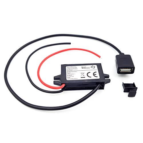 Bauer Motorbike Spannungswandler Stromrichter Ladegerät Buck Converter Step down Transformer Voltage Regulator DC/DC 6v-9v-12v-20v zu 5v 3A USB-Anschluss mit Schutzkappe für Auto, Motorrad, E-Bike.