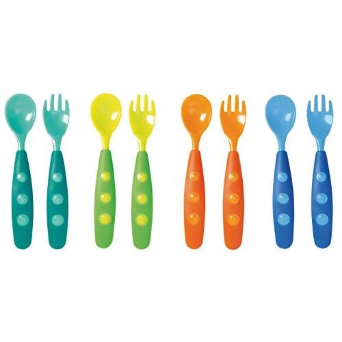 Tigex 80890147 Set 4 Cucchiai e 4 Forchette Colors per Bambini