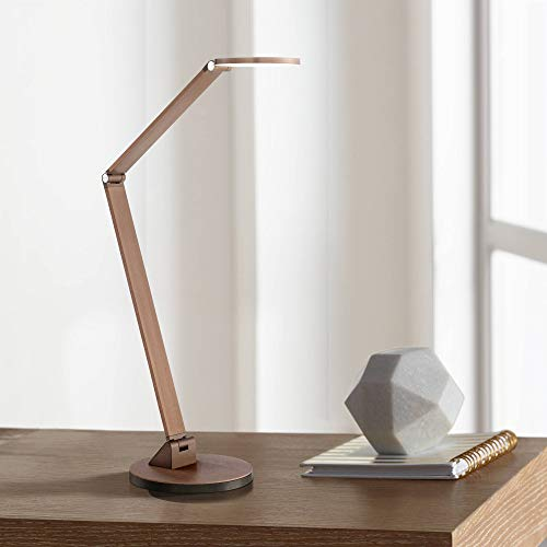 Magnum Modern Desk Table Lamp LED Adjustable Arm Head French Bronze Metal for Office Craft Hobby - Possini Euro Design