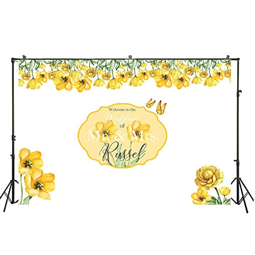 Backdrop Yellow Floral Theme Customize Photo Background Backdrop Decoration Background Wall Prom Photo Booth Backdrop Background Wall Photography Backdrop for Photo Studio Photography Bac