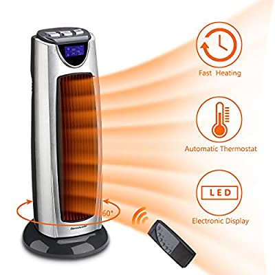 Homeleader Tower Heater, 1500W Space Heater, Electric Heater with Remote Control, LCD Display and Timer, Oscillating Heater for Home & Office