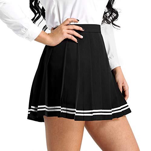 IEFIEL Falda Plisada Basica Mujer Mini Falda Vuelo Escolar Falda Casual Corta Colegiala Japonesa Falda Escocesa Cintura Alta Elástica para Chicas Disfraz Animadora Negro Rayas S