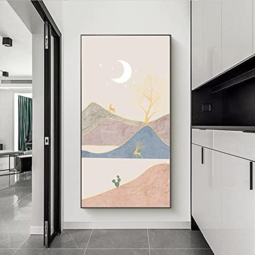 Abstracte Grote Foto's voor Woonkamer Berg Canvas Moon Wall Art Boho, Herten Foto's voor Hal Badkamer Muur Decor Nordic…