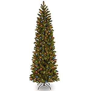 National Tree Company 'Feel Real lit Artificial Christmas Tree Includes Pre-strung Multi-Color LED Lights, Memory Shape and Stand, 7.5 ft, Downswept Douglas Fir Slim Slim