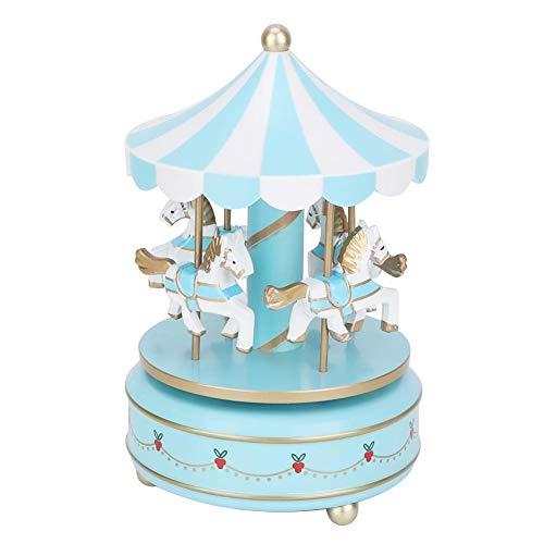 Sevenyou Carillon Merry-Go-Round , 6,69 x 4,13 Pollici Carousel Gift Decorazioni Regalo di Compleanno Matrimonio di Natale - Il Prodotto Che Ti Serve(Blu)