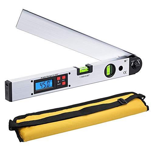 Goniómetro digital de 400 mm/16 pulgadas 0-225 grados ángulo ángulo de inclinación,...