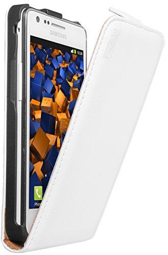 mumbi Echt Leder Flip Case kompatibel mit Samsung Galaxy S2 / S2 Plus Hülle Leder Tasche Case Wallet, weiss