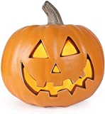 Jack-o'-Lantern - Halloween Pumpkin Lantern - Lighted Jack O Lantern with ETL Certified Cord and 2 Safety Fuse - Indoor Outdoor Jackolantern Halloween Decorations - Round Lightened Pumpkin 10 Inch