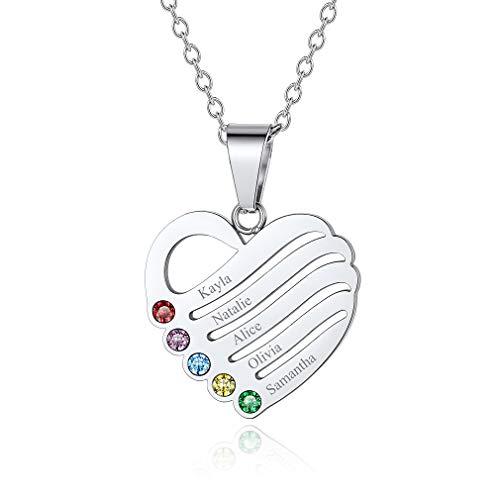 Custom4U Collar Corazón Personalizado con Piedras de Nacimiento Plata de Ley 925 / Acero Inoxidable 316L para Mujeres Joyería Moderna 2/3/4/5 Nombres Grabados Regalo Romántico de Cumpleaños y