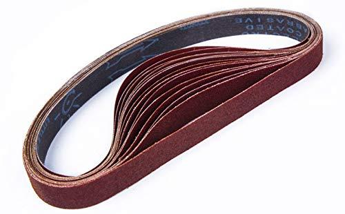 STEBRUAM Bandas de Lija 25 x 762 mm,Banda Abrasiva 3 x grano 80/120/150/240/400 para Lijadora de Banda,para Quitar el Polvo, Quitar la Pintura y Pulir(15 piezas)