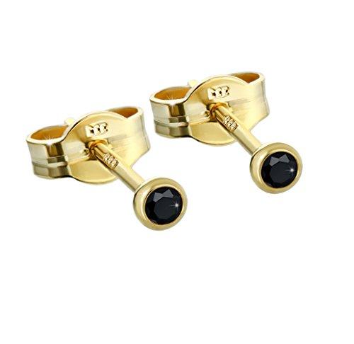 NKlaus par de orejas de oro 333er 2,50mm de zirconia negra mujeres hombres niños 6592