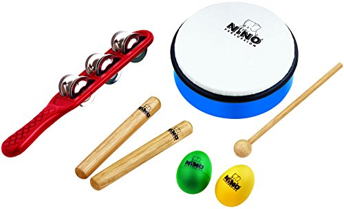 Nino Percussion NINOSET3 Sortiment Set (7-teilig) für Kindergärten, Krippen, Schulen/Musiktherapie inkl. Jingle Stick, Wooden Claves, Egg Shaker, ABS Hand Drum