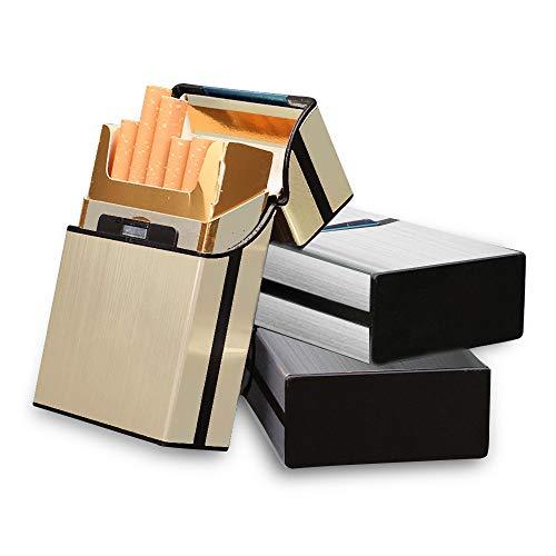 SITAKE 3個入り シガレットケース タバコケース シガレットボックス 煙草ケース 煙草 保護 カバー 葉巻保護カバー 20本収納 アルミ 軽量 男女兼用 (グレー、シルバー、ゴールド)